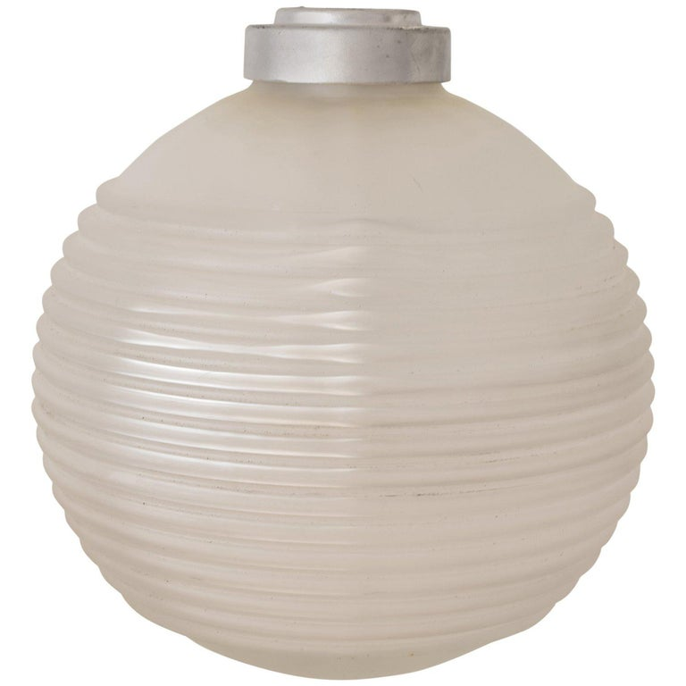 Ribbed Glass Pendant Light Fitting, English, circa 1940 For Sale