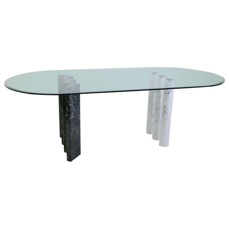 Black and White Marble and Glass Top Dining Tables For Sale