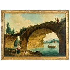 French School, the Footbridge in Ruin to the Manner of Hubert Robert, circa 1820