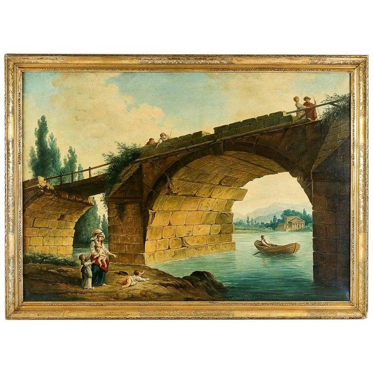 French School, the Footbridge in Ruin to the Manner of Hubert Robert, circa 1820 For Sale