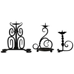 Early 19th Century Set of Three Spanish Hand Forged Iron Church Candleholders