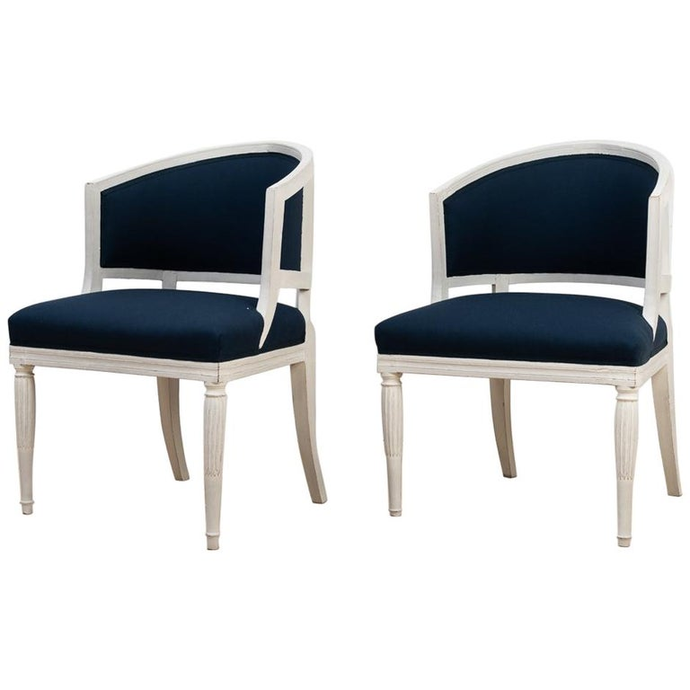 Swedish Barrel Back Chairs from the Early 19th Century For Sale