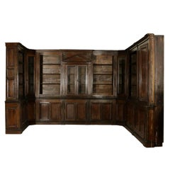 Italian Walnut 18th Century Library Bookcase Panneling