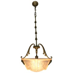 Unique Art Deco Gilt Bronze & Glass Pendant Light by Muller Frères Luneville