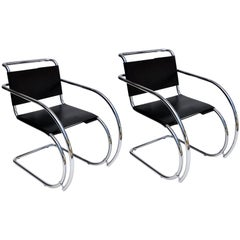 Pair of Mies van der Rohe Mr Lounge Chairs in Black Leather and Chrome