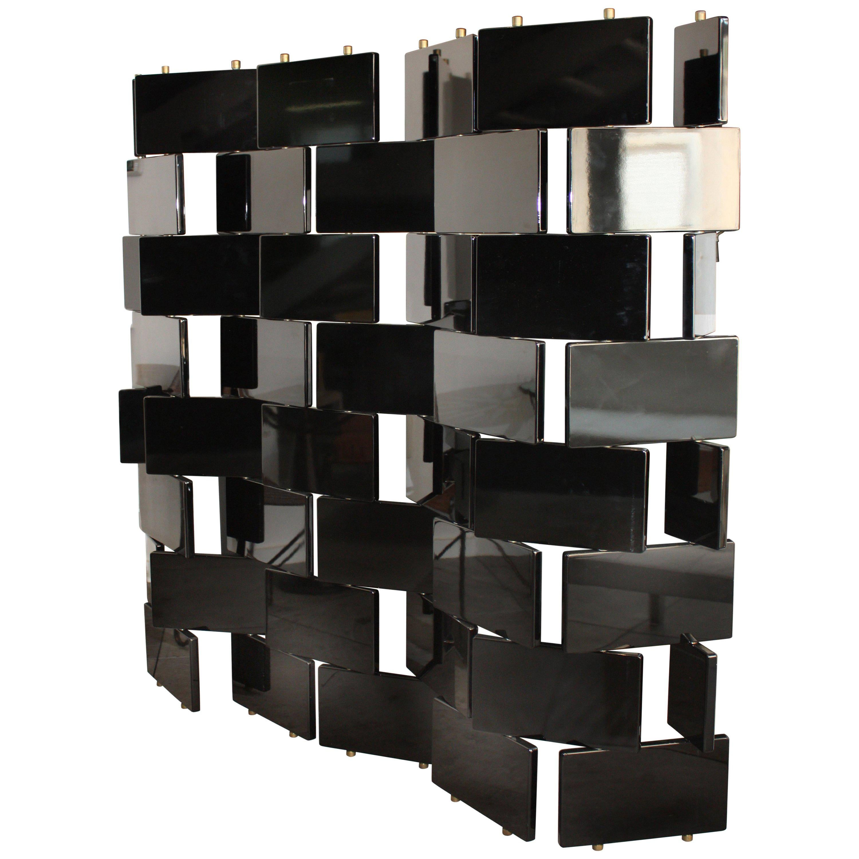 Eileen Gray Style Brick Screen, Black Lacquer Room Divider