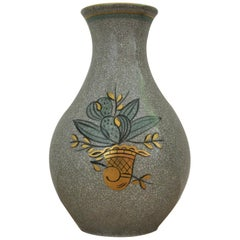Craquele Glaze Porcelain Vase, Gold and Green on Grey, Lyngby Porcelain, 1930s