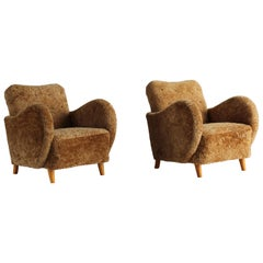 G.a. Berg 'Attribution' Pair of Organic Lounge Chairs, Sheepskin, Birch, 1930s