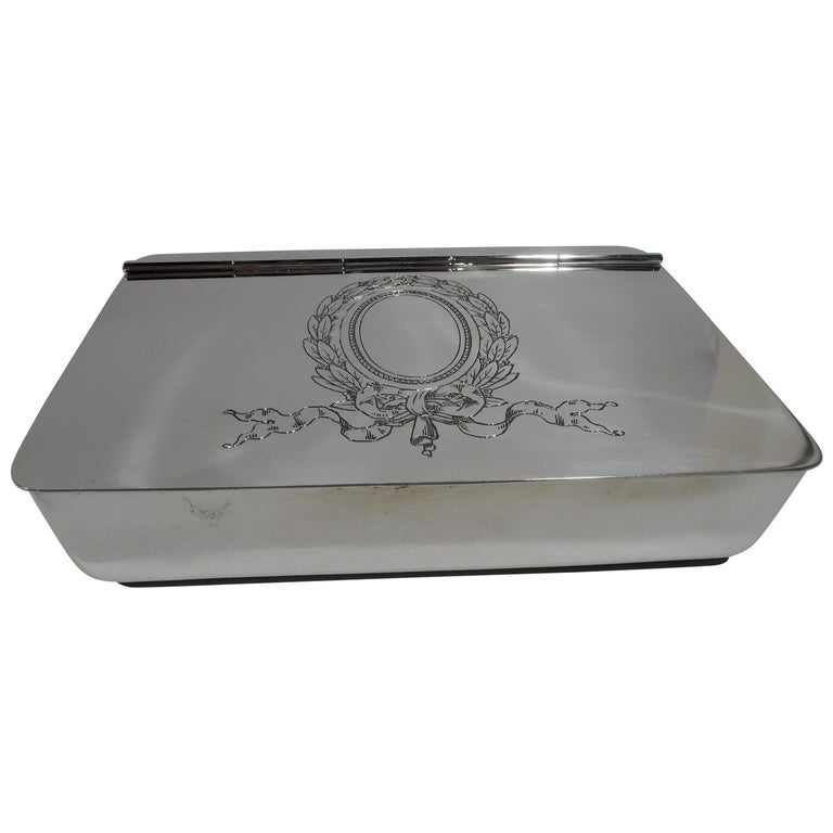 Antique Reed & Barton Edwardian Sterling Silver Jewelry Box For Sale