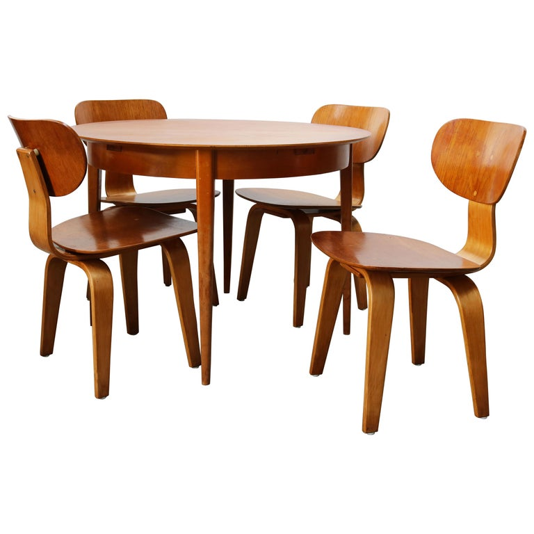 Cees Braakman for UMS Pastoe Dining Set 1952 SB02, TB05 Beige Brown Yellow Teak For Sale