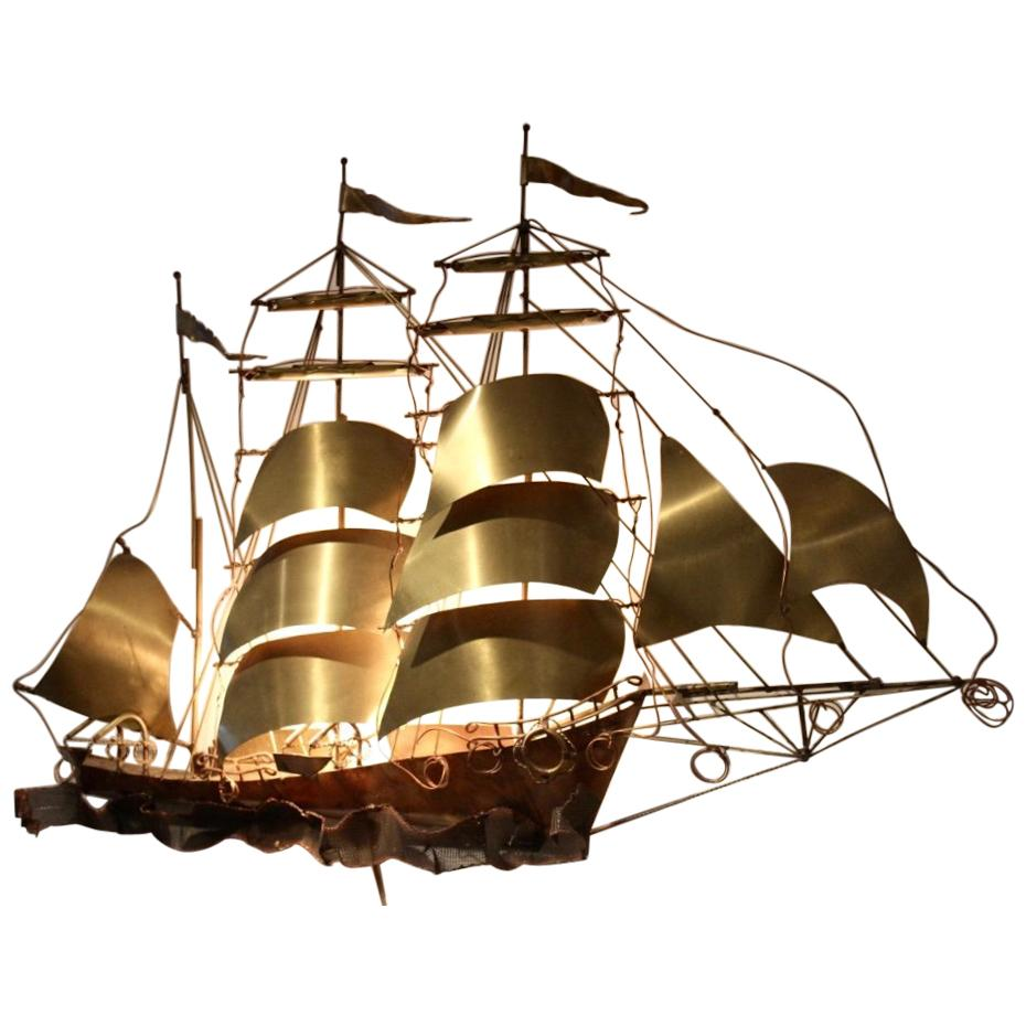 Daniel d'Haeseleer Sailing Vessel Wall Light Sculpture in solid Copper and Brass