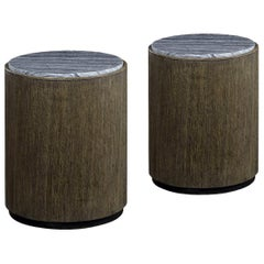 Quickship, Two Outdoor Round Oak End Tables with Grey Marble Top