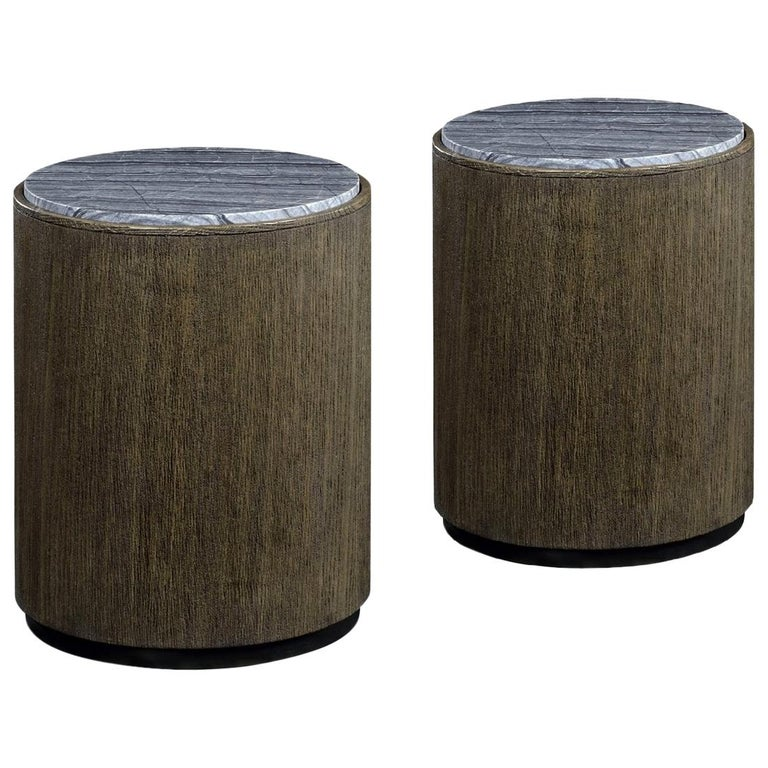 Quickship, Two Outdoor Round Oak End Tables with Grey Marble Top For Sale