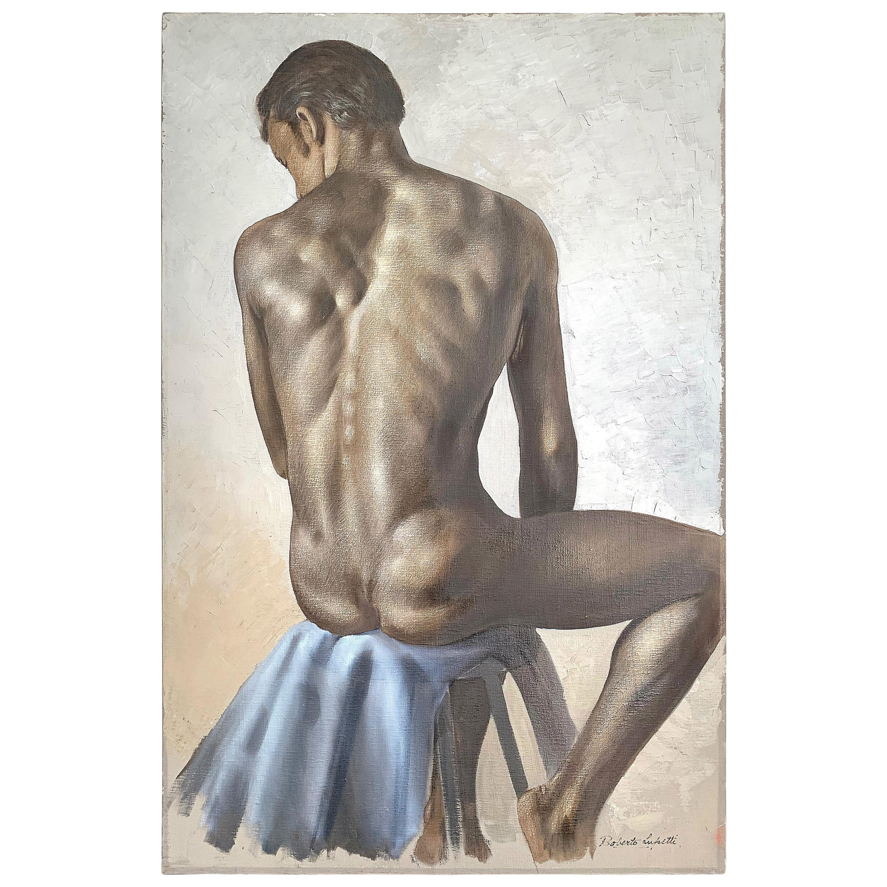 """""""Seated Male Nude,"""" Gorgeous Figural Painting by Roberto Lupetti, 1950s"""