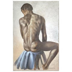 """Seated Male Nude,"" Gorgeous Figural Painting by Roberto Lupetti, 1950s"