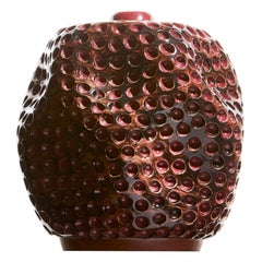 Colored Contemporary Hand Carved Ceramic Vase, Antique Pink/ Burgundy/ Maroon