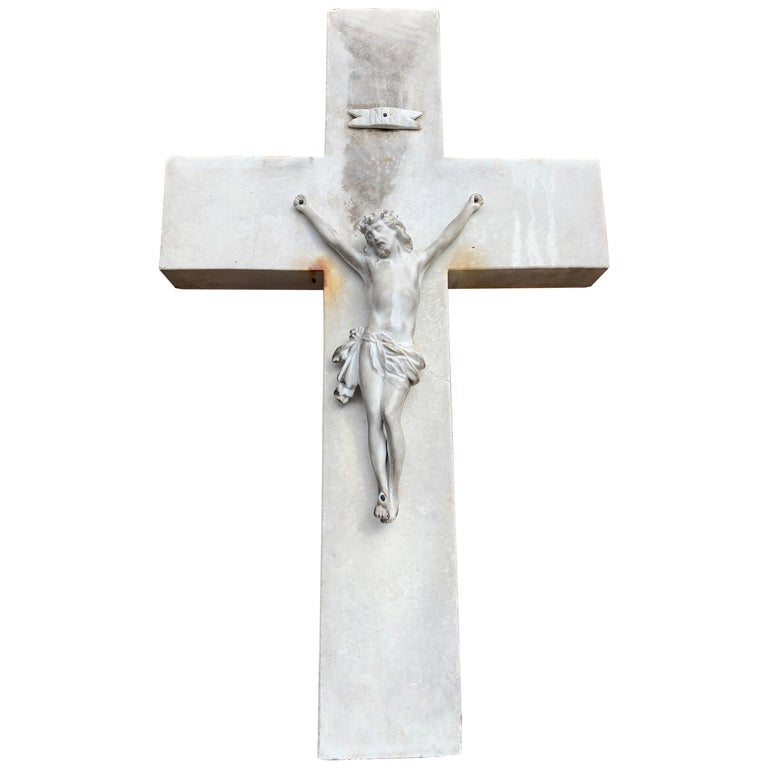 Early 1900s Hand Carved Marble Crucifix / Wall Cross with Jesus Christ Sculpture For Sale