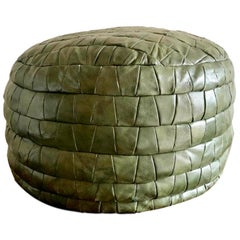 De Sede Army Green Patchwork Leather Ottoman