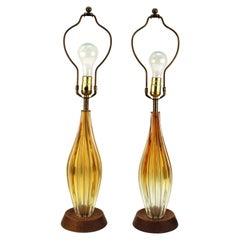 Italian Mid-Century Modern Glass Table Lamps