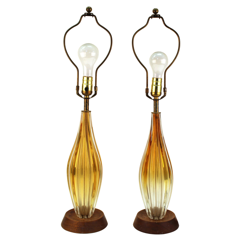 Italian Mid-Century Modern Glass Table Lamps
