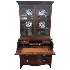 English Secretary Bookcase in Mahogany with Greek Key Inlay and Original Brasses
