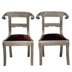 Glam Pair of Anglo Indian Regency Style Rams Head Side Chairs