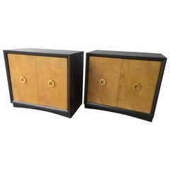 Pair of Mid-Century Modern Robsjohn-Gibbings Burl and Lacquered