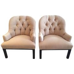 Classic Pair of Camel Hair Mid-Century Modern Dunbar Style Club Lounge Chairs