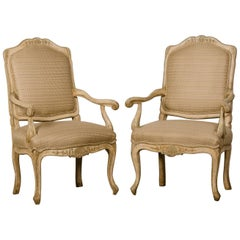Pair of Antique Italian Louis XV Period Painted Armchairs, circa 1770