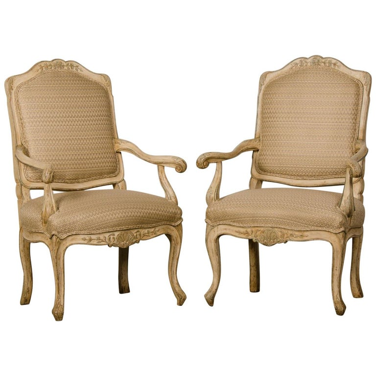 Pair of Antique Italian Louis XV Period Painted Armchairs, circa 1770 For Sale