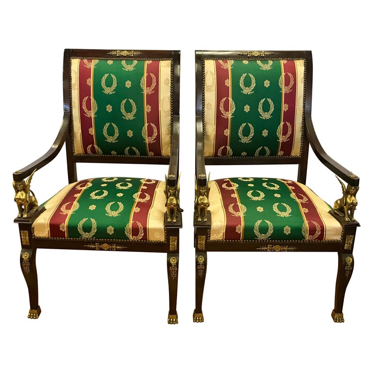 Pair of Egyptian Revival Armchairs Bronze Ormolu Mounts Mahogany Empire For Sale
