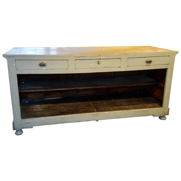 French Original Painted Store Counter For Sale