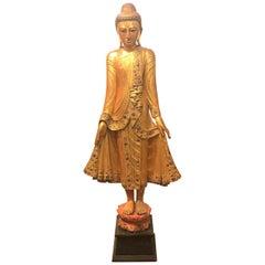 Large Carved Giltwood Thai Buddha