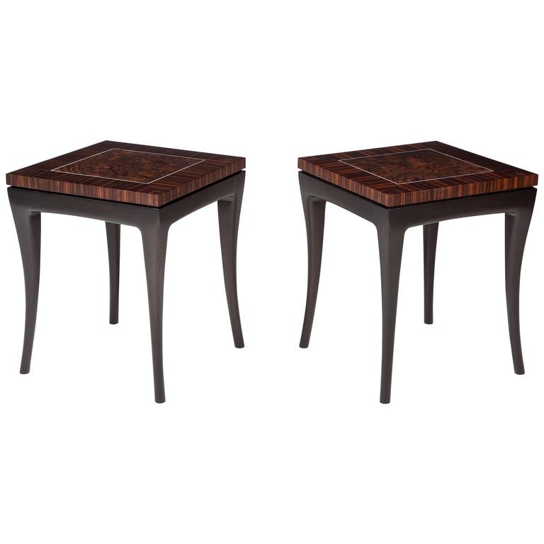 Deco-Inspired, Macassar Ebony Side Table For Sale