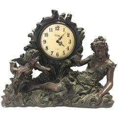 Rococo Style Carved Wooden Mantel Clock Putti Cherubs