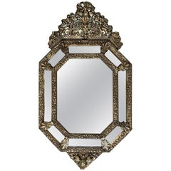 19th Century French Repousse Hexagonal Brass Relief Wall Mirror with Crest