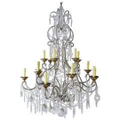 '12' Light Monumental Italian Crystal Beaded Chandelier