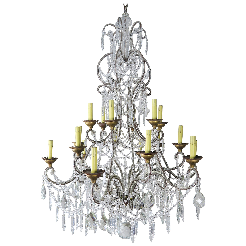 '12' Light Monumental Italian Crystal Beaded Chandelier