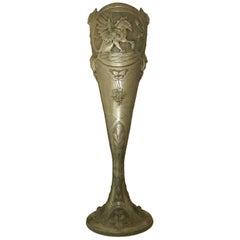 Art Nouveau Vase Pewter Signed A Villien Monumental Belle Epoque, circa 1900