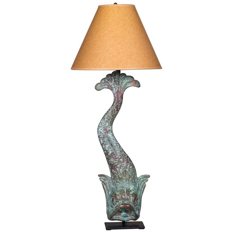 Antique French Verdigris Copper Dolphin Waterspout Custom Lamp, circa 1895 For Sale