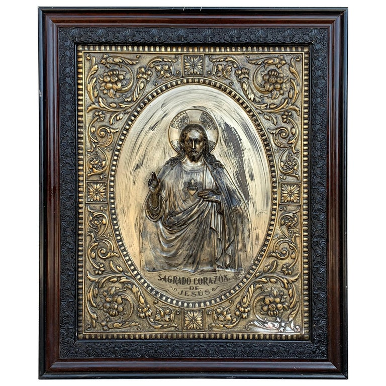 Italian 19th Century Repousse Brass Relief Panel of Christ with Carved Frame For Sale