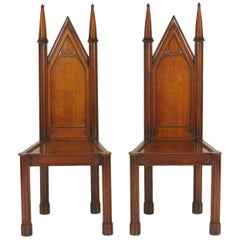 Pair of George III Oak Gothic Hall Chairs, circa 1800