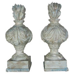 Pair of Grand 19th Century Carved Wood Painted Flamed Finials