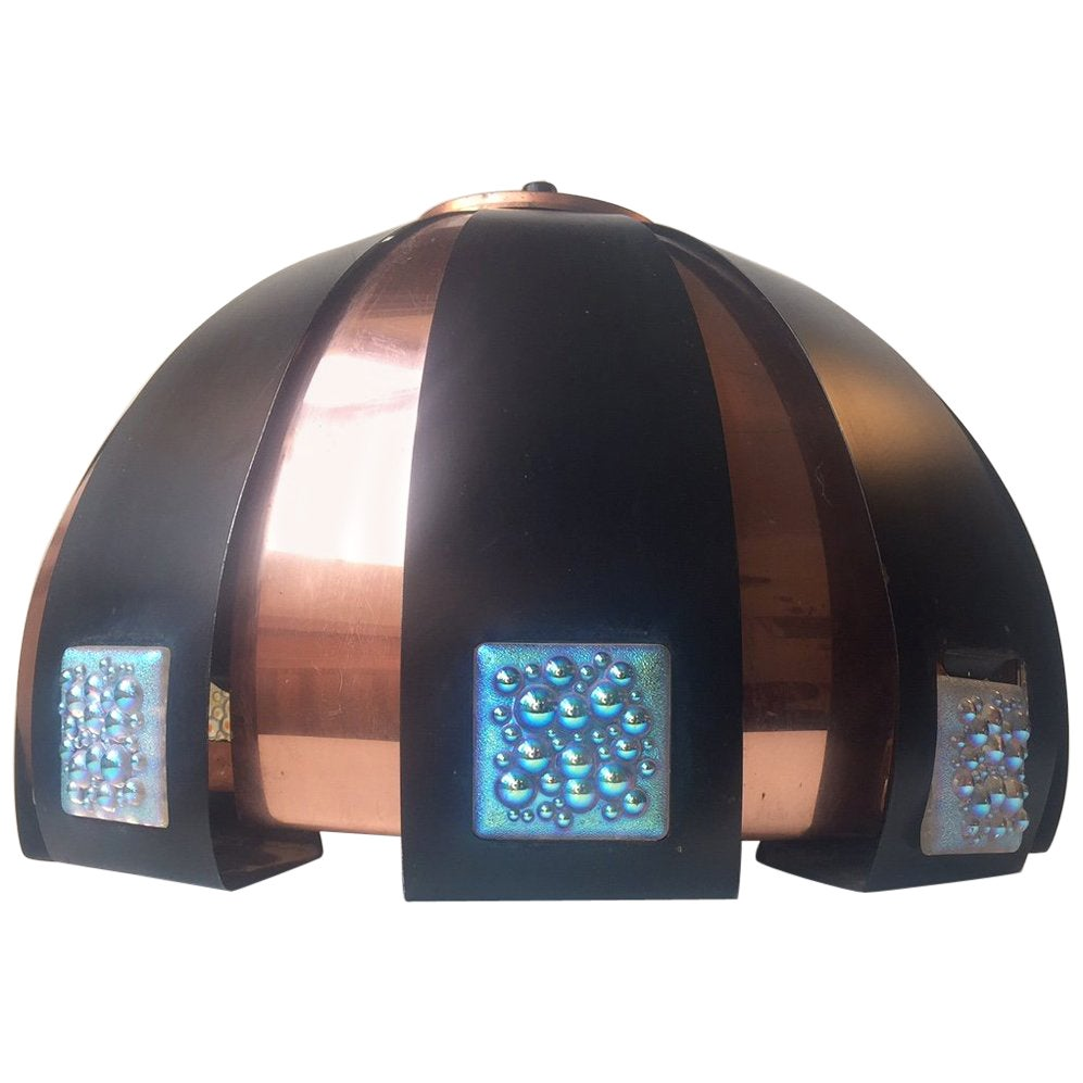 Danish 'Moonscape' Copper Ceiling Lamp by Werner Schou for Coronell, 1960s