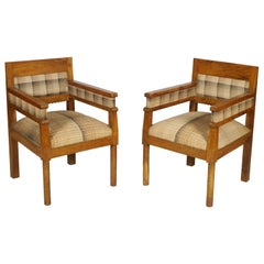 Early 20th Century Art Deco Country Armchairs in Solid Olive Wood, Wax Polished