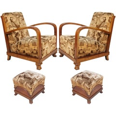 Early 20th Century, Pair of Italy Art Deco Armchairs with Footrest, in Walnut