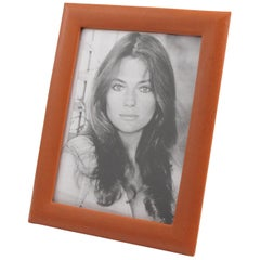 French 1970s Cognac Leather Picture Photo Frame