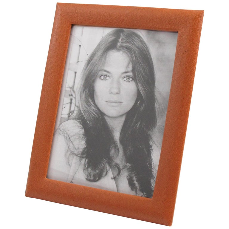 French 1970s Cognac Leather Picture Photo Frame For Sale