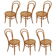 Six Chairs Model 14 by Thonet, Designed Mid-19th Century, Produced in the 1930s