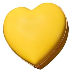 Limoges Porcelain Heart Trinket Box, Canary Yellow, French Porcelain Jewelry Box